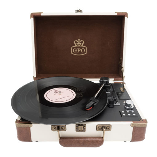 GPO Attache Go Cream Turntable Vinyl Record Player front view open with records playing