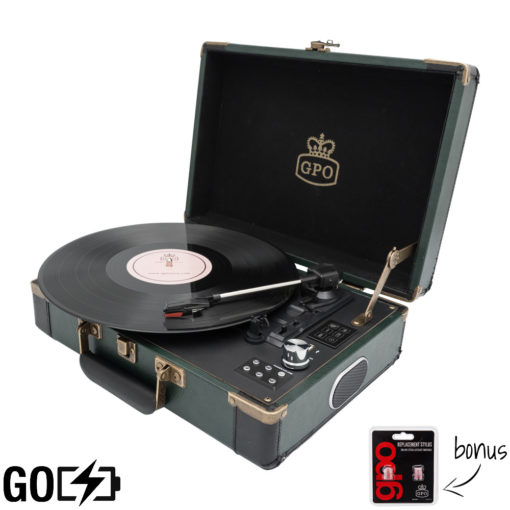 GPO Attache Go Dark Green Turntable Vinyl Record Player side view open with record playing and needles
