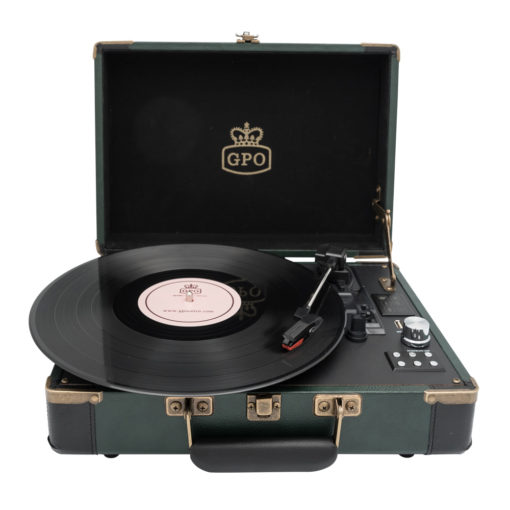 GPO Attache Go Dark Green Turntable Vinyl Record Player front view open with records playing front view