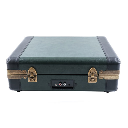 GPO Attache Go Dark Green turntable vinyl record player closed suitcase back view with Aux