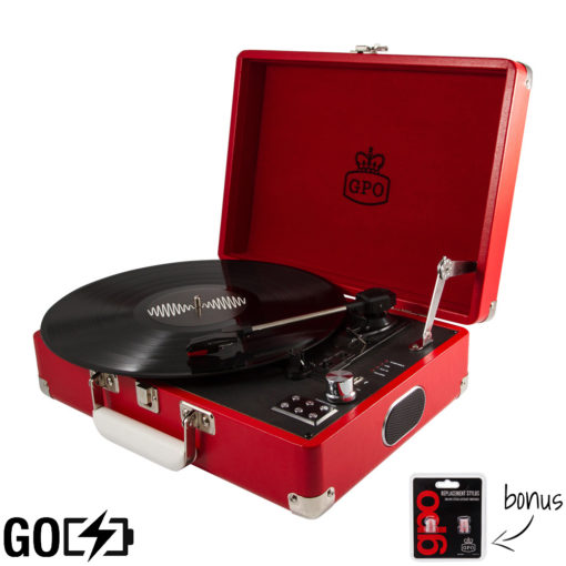 GPO Attache Go Turntable Vinyl Record Player side view open with record playing and needles