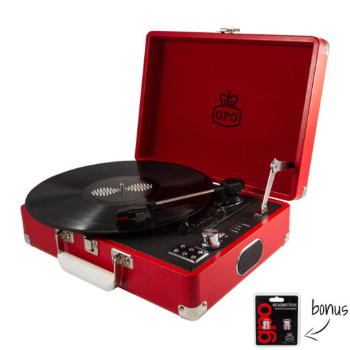 GPO Attache Red Turntable Vinyl Record Player side view open with record playing and needles