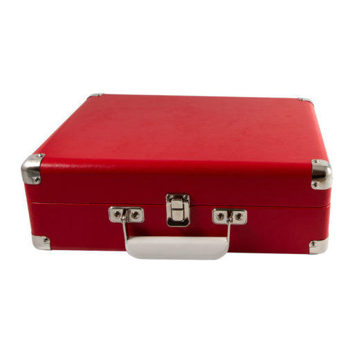 GPO Attache Red Turntable Vinyl Record Player side view close with handle