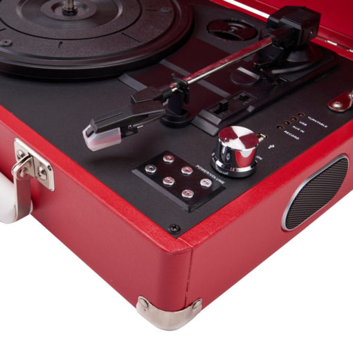 GPO Attache Red Turntable Vinyl Record Player side view closeup open with speaker