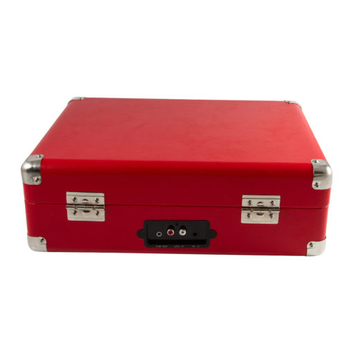 GPO Attache Red turntable vinyl record player closed suitcase back view with Aux