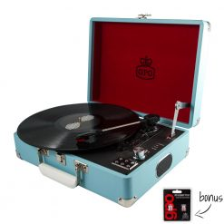 GPO Attache Sky Blue Turntable Vinyl Record Player side view open with record playing and needles