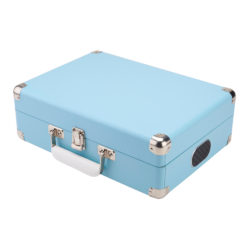 GPO Attache Sky blue turntable vinyl record player closed suitcase with handle and speakers