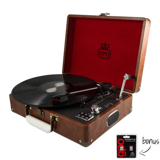 GPO Attache Vintage Brown Turntable Vinyl Record Player side view open with record playing and needles