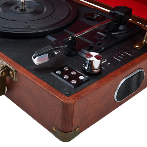 GPO Attache Vintage Brown Turntable Vinyl Record Player side closeup view open with speaker