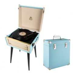 GPO Bermuda 2 Piece Bundle with Sky Blue Bermuda Record Player and Sky Blue Vinyl Case and Stylus