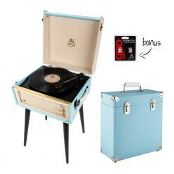 GPO Bermuda 2 Piece Bundle with Sky Blue Bermuda Record Player and Sky Blue Vinyl Case and Stylus