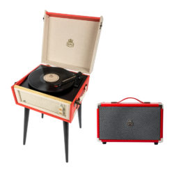 GPO Bermuda 2 Piece Bundle with Red Bermuda Turntable and Red Westwood Speaker and Needles