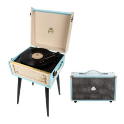 GPO Bermuda 2 Piece Bundle with Sky Blue Bermuda Record Player and Sky Blue Vinyl Speaker and Needles