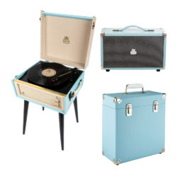 GPO Bermuda 3 Piece Bundle with Sky Blue Bermuda turntable and Sky Blue Vinyl Case and Sky Blue westwood speaker and stylus