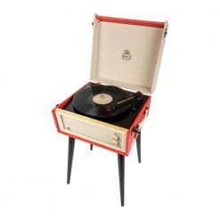 GPO bermuda red Turntable Vinyl Record Player side view open with record playing