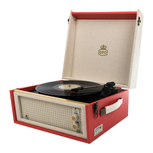 GPO bermuda red Turntable Vinyl Record Player side view open with speaker and records playing