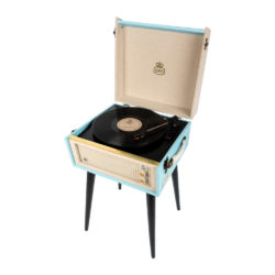 GPO Bermuda Sky blue Turntable Vinyl Record Player side view open with record playing