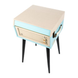 GPO Bermuda Sky blue Turntable Vinyl Record Player side view closed with speaker and handle
