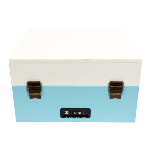 GPO Bermuda Sky blue turntable vinyl record player closed suitcase back view with Aux