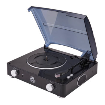 GPO Stylo black Turntable Vinyl Record Player side view open with speaker
