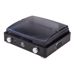 GPO Stylo black Turntable Vinyl Record Player side view close with speaker and volume button
