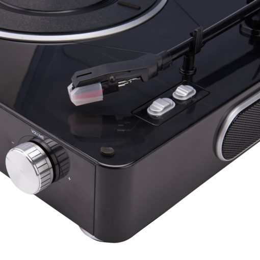 GPO Stylo black Turntable Vinyl Record Player closeup view close with speaker and volume button