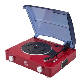 GPO Stylo Red Turntable Vinyl Record Player side view open with speaker and volume button