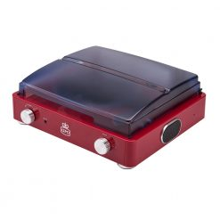 GPO Stylo Red Turntable Vinyl Record Player side view close lid with speaker and volume button