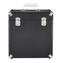 GPO vinyl record case in black front view