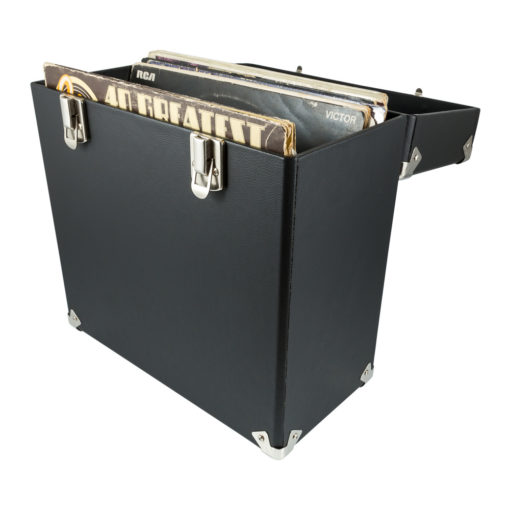 GPO vinyl record case in black open with vinyl records inside