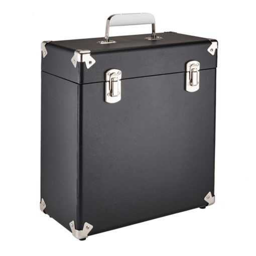 GPO vinyl record case black close side angle