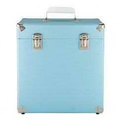 GPO vinyl record case sky blue front view close