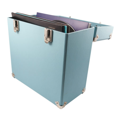 GPO vinyl record case sky blue open with records inside