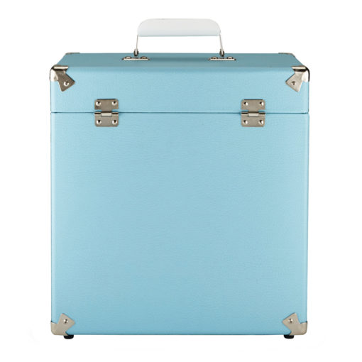 GPO vinyl record case sky blue close front view