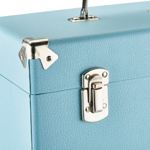 GPO vinyl record case sky blue close side angle