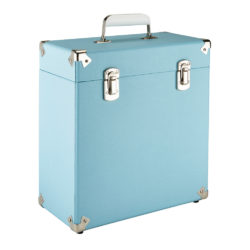 GPO vinyl record case sky blue close left side angle