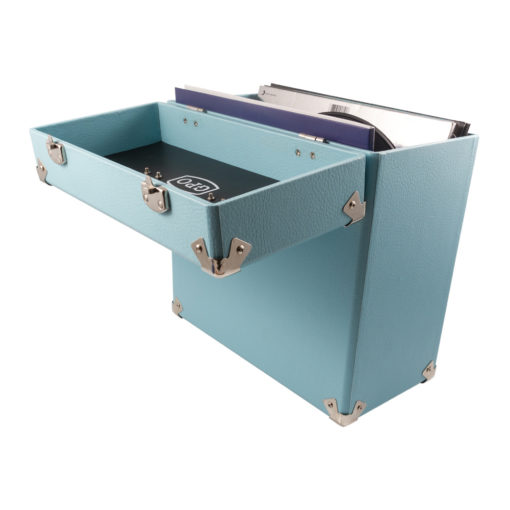 GPO vinyl record case sky blue open with records inside backview