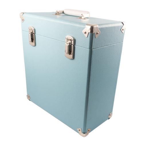 GPO vinyl record case sky blue close right angle view