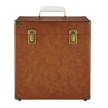 GPO vinyl record case vintage brown front view close
