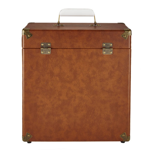 GPO vinyl record case vintage brown open front view with handle