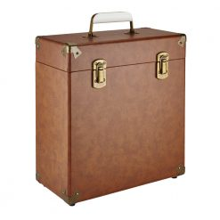 GPO vinyl record case vintage brown close left angle