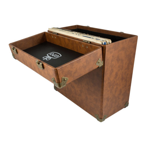 GPO vinyl record case vintage brown back view open with records inside