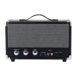 GPO westwood bluetooth speaker in black back view with controls and aux in