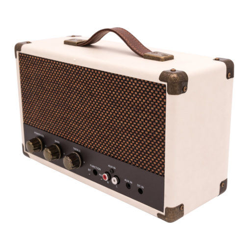 GPO cream westwood bluetooth speaker in right angle view with controls and aux in