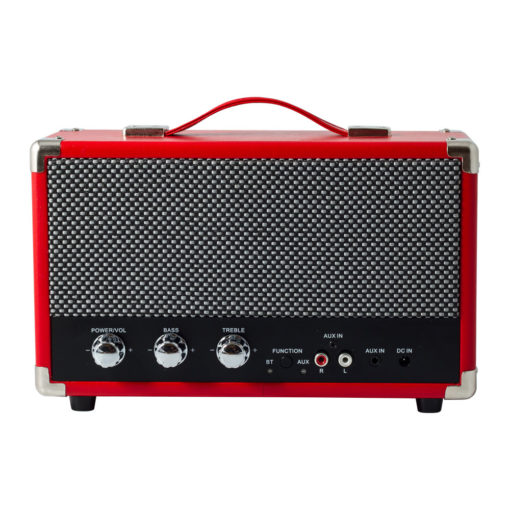 GPO westwood red bluetooth speaker with controls and aux in