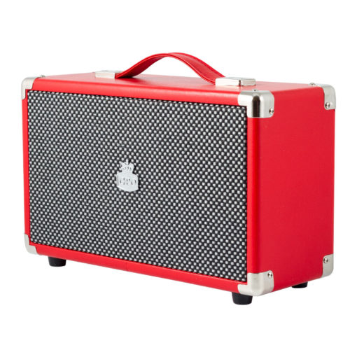 Red GPO westwood bluetooth speaker right angle view