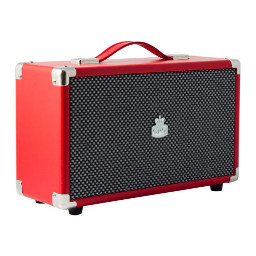 Red GPO westwood bluetooth speaker left angle view