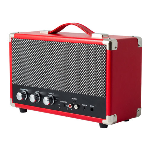 GPO westwood red bluetooth speaker with controls and aux in right angle view