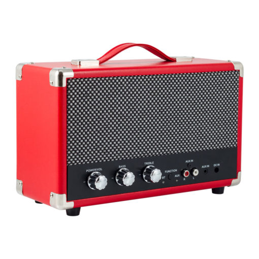 GPO westwood red bluetooth speaker with controls and aux in left angle view
