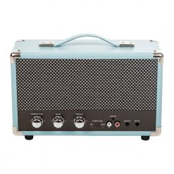 GPO westwood bluetooth speaker in skyblue with controls and aux in